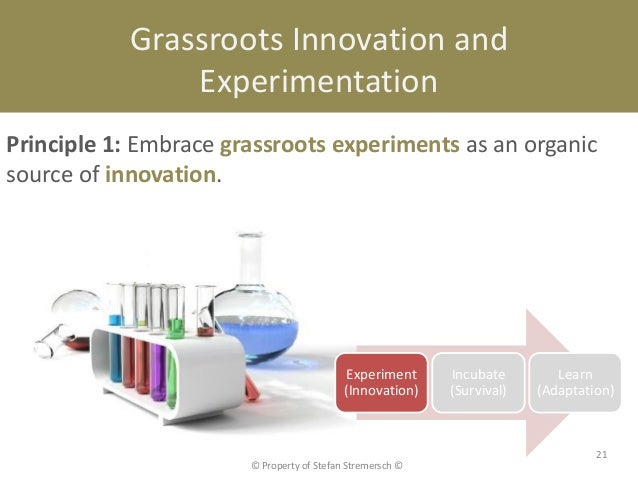 Grassroots Innovation and               ExperimentationPrinciple 1: Embrace grassroots experiments as an organicsource of ...
