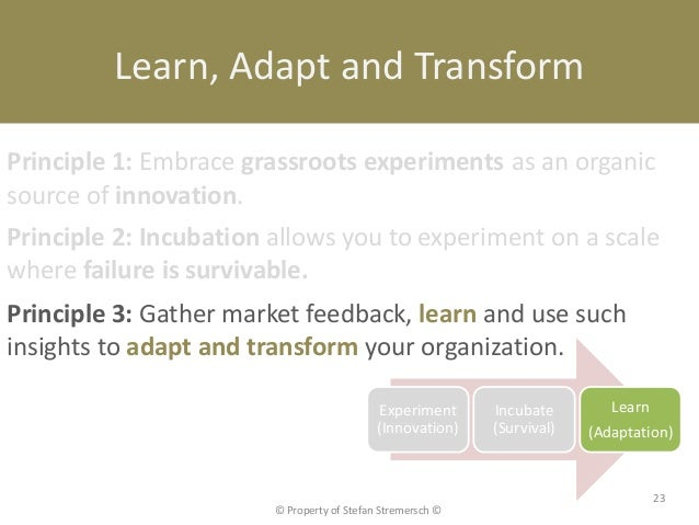 Learn, Adapt and TransformPrinciple 1: Embrace grassroots experiments as an organicsource of innovation.Principle 2: Incub...