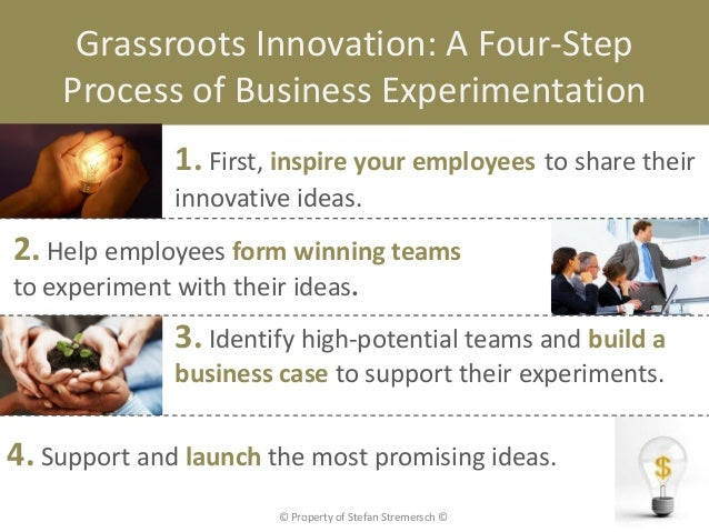 Grassroots Innovation: A Four-Step    Process of Business Experimentation              1. First, inspire your employees to...