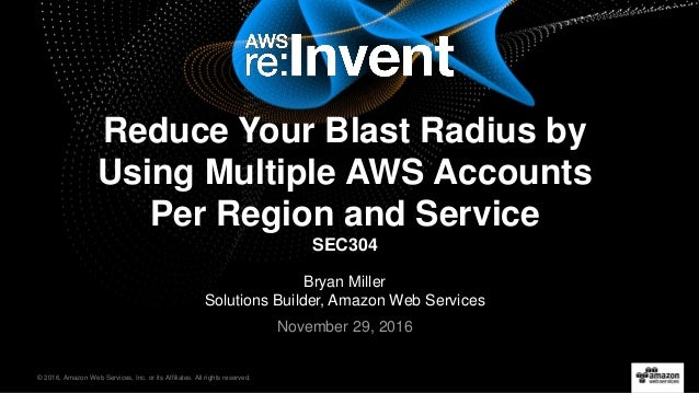 © 2016, Amazon Web Services, Inc. or its Affiliates. All rights reserved. Bryan Miller Solutions Builder, Amazon Web Servi...