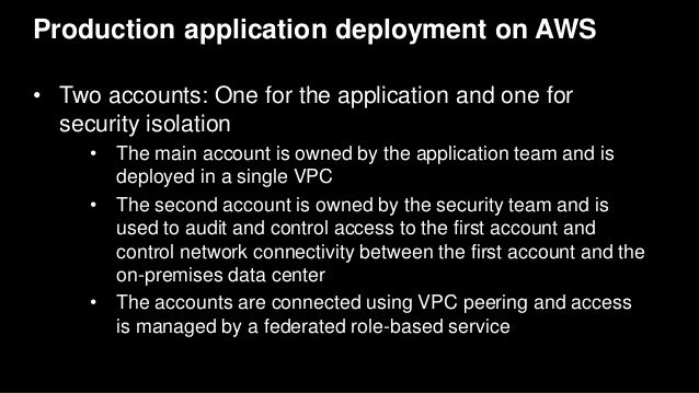 Production application deployment on AWS • Two accounts: One for the application and one for security isolation • The main...