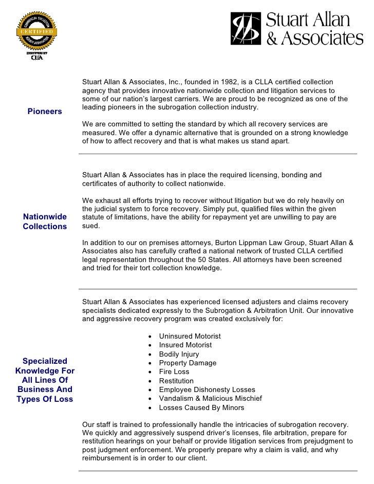 stuart allan amp associates inc nationwide subrogation recovery pro