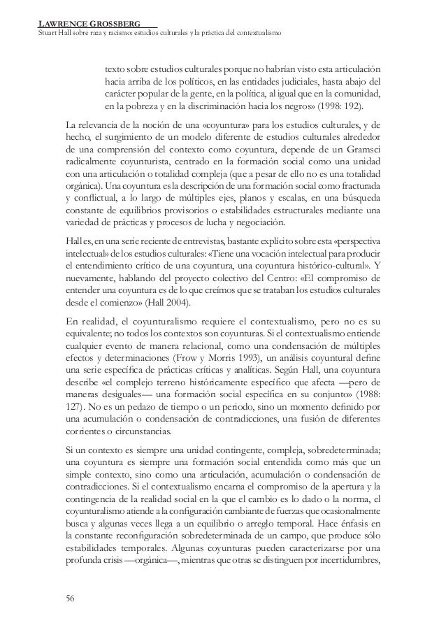 LAWRENCE GROSSBERG  Stuart Hall sobre raza y racismo: estudios culturales y la práctica del contextualismo  texto sobre es...