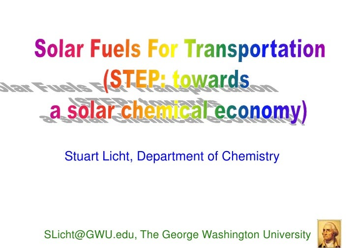 Stuart Licht, Department of Chemistry     SLicht@GWU.edu, The George Washington University