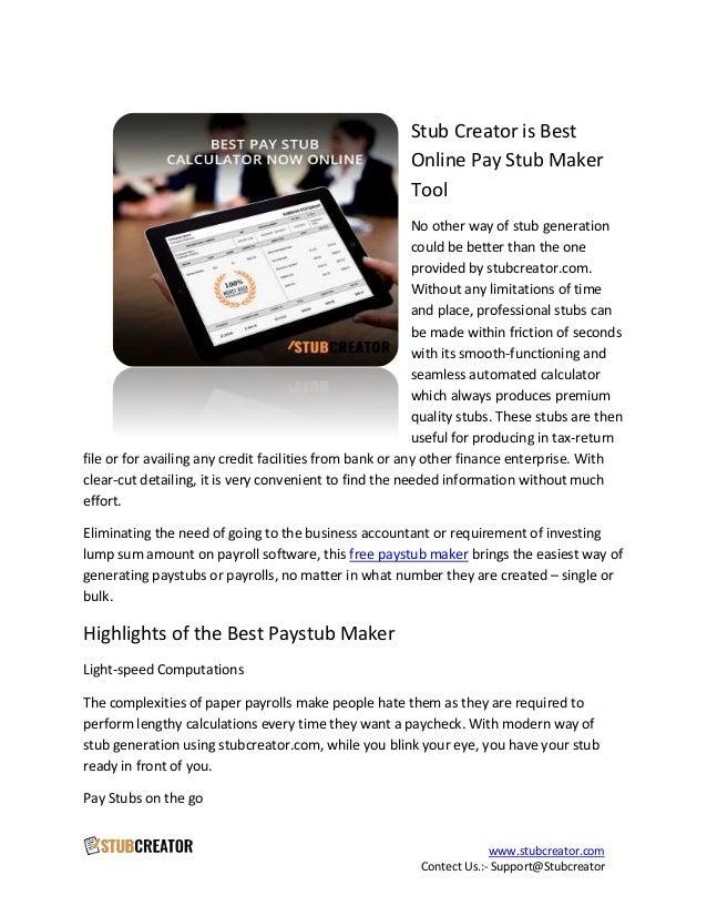 Stub Creator Is Best Online Pay Stub Maker Tool