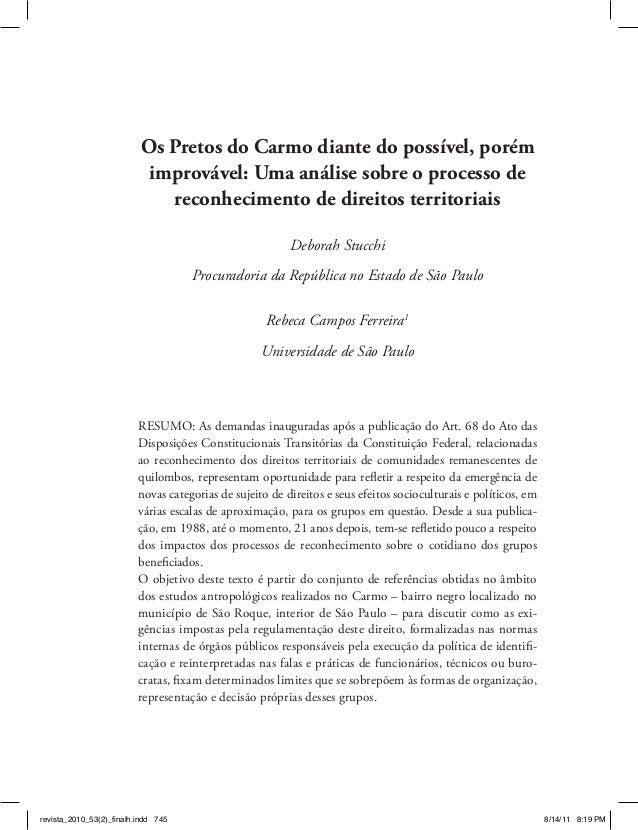 Os Pretos do Carmo diante do possível, porém improvável: Uma análise sobre o processo de reconhecimento de direitos territ...
