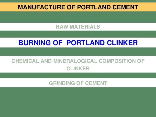 Portland Cement Composition : Stud l cement manufacture