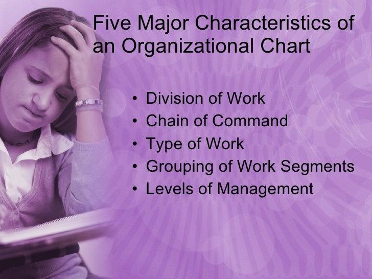 Five Major Characteristics of an Organizational Chart <ul><li>Division of Work </li></ul><ul><li>Chain of Command </li></u...