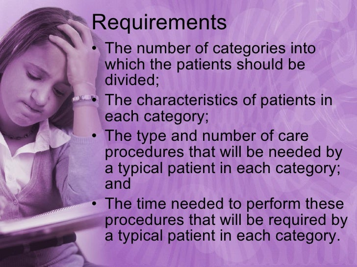 Requirements  <ul><li>The number of categories into which the patients should be divided; </li></ul><ul><li>The characteri...
