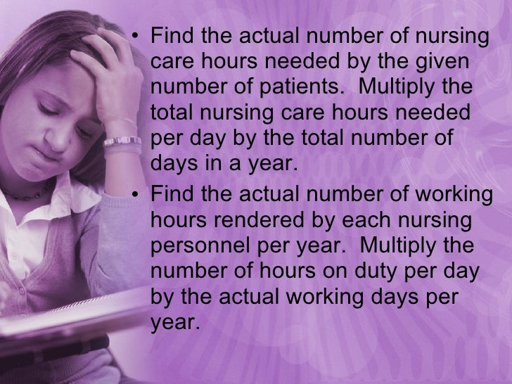 <ul><li>Find the actual number of nursing care hours needed by the given number of patients.  Multiply the total nursing c...