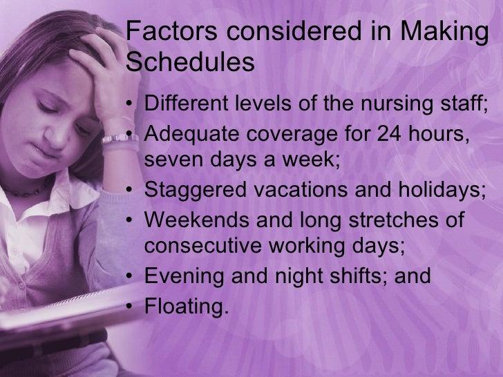 Factors considered in Making Schedules <ul><li>Different levels of the nursing staff; </li></ul><ul><li>Adequate coverage ...