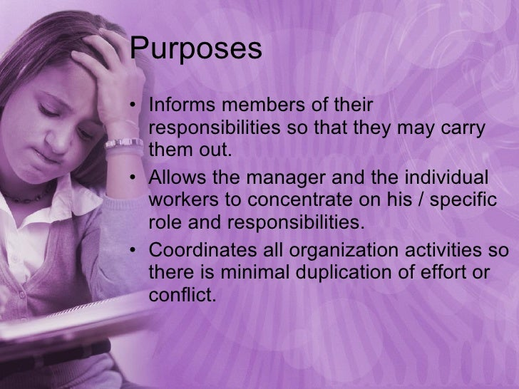 Purposes <ul><li>Informs members of their responsibilities so that they may carry them out. </li></ul><ul><li>Allows the m...
