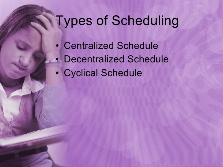 Types of Scheduling <ul><li>Centralized Schedule </li></ul><ul><li>Decentralized Schedule </li></ul><ul><li>Cyclical Sched...