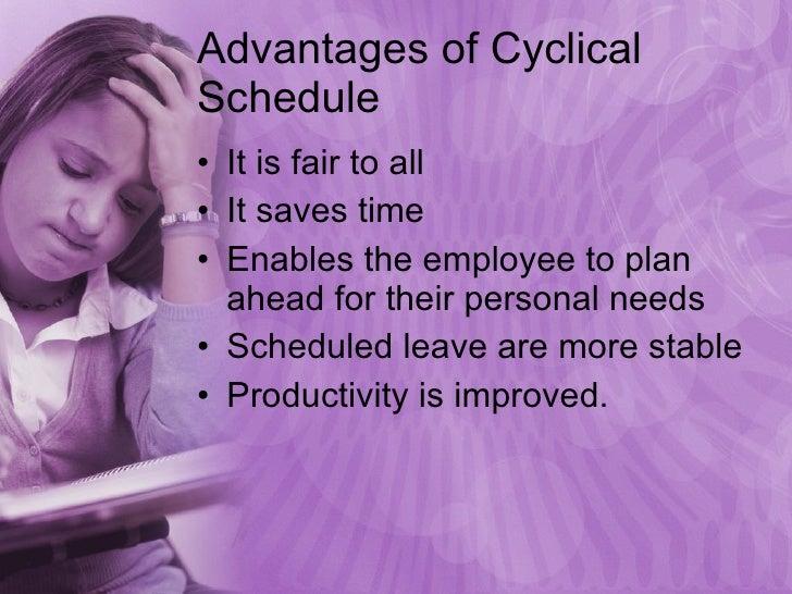 Advantages of Cyclical Schedule <ul><li>It is fair to all </li></ul><ul><li>It saves time </li></ul><ul><li>Enables the em...