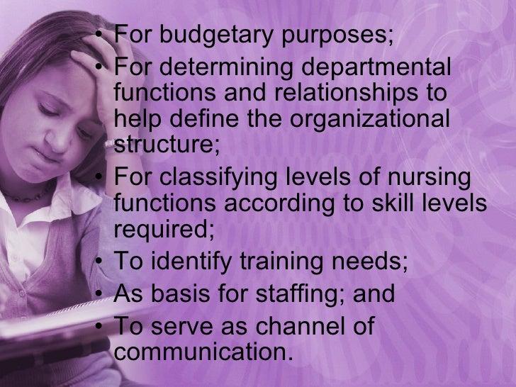 <ul><li>For budgetary purposes; </li></ul><ul><li>For determining departmental functions and relationships to help define ...