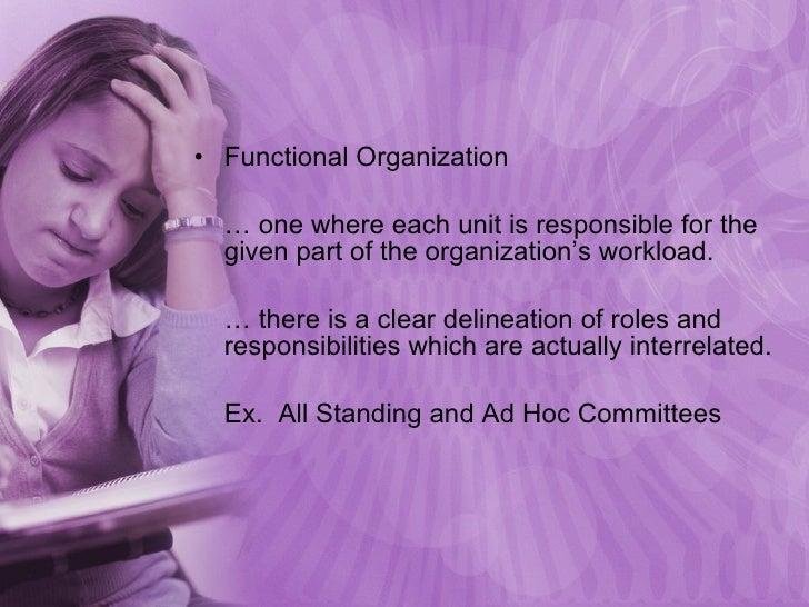<ul><li>Functional Organization </li></ul><ul><li>…  one where each unit is responsible for the given part of the organiza...