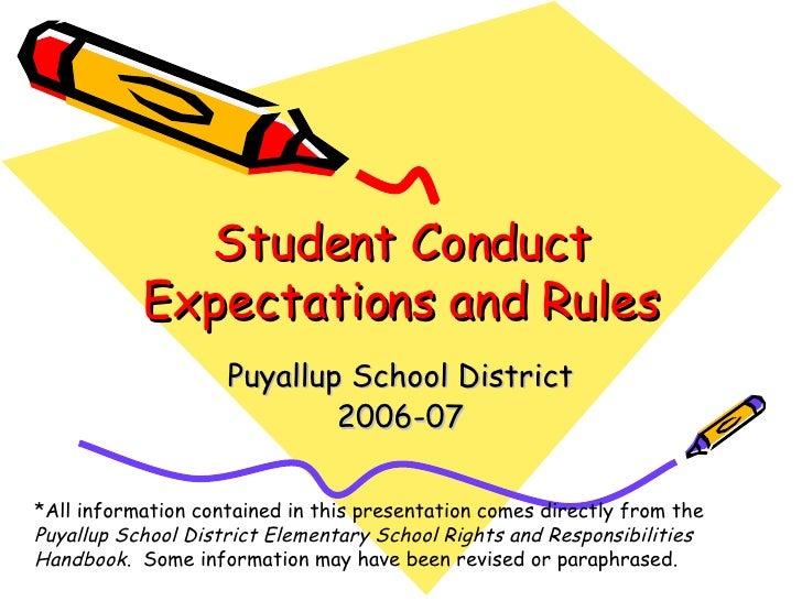 Student Conduct Expectations and Rules Puyallup School District 2006-07 *All information contained in this presentation co...