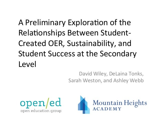 A	Preliminary	Explora0on	of	the	 Rela0onships	Between	Student- Created	OER,	Sustainability,	and	 Student	Success	at	the	Se...