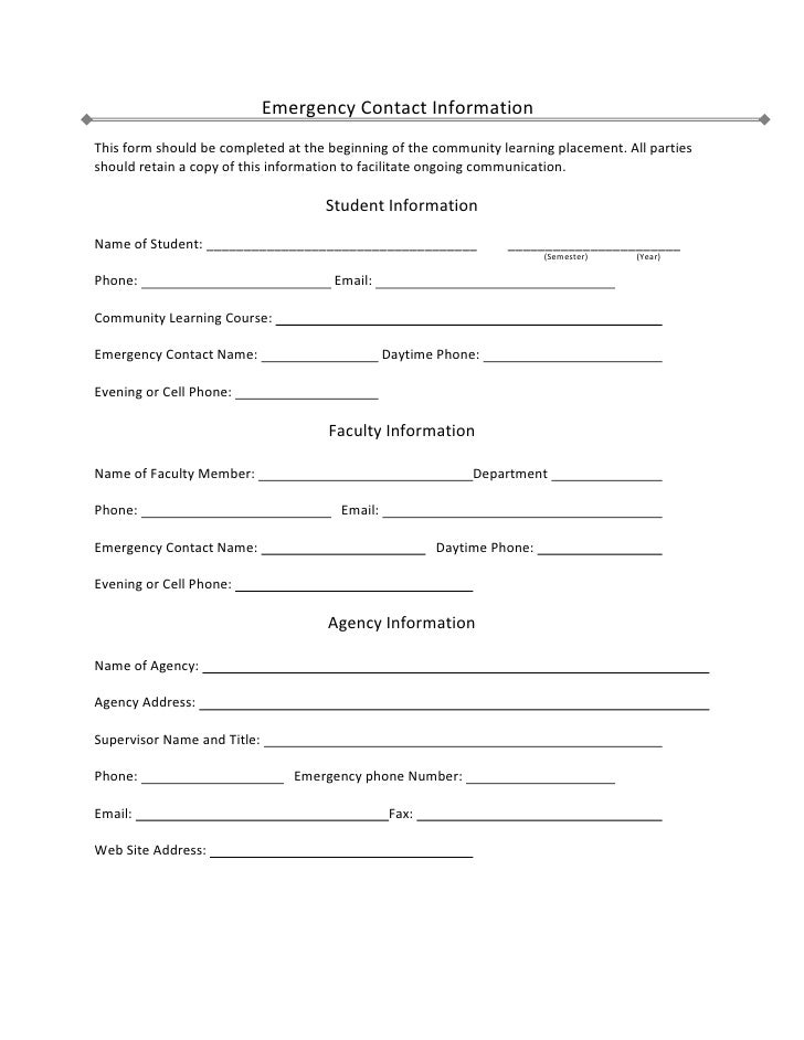 Employee Emergency Contact Form. Custom Card Template Free ...