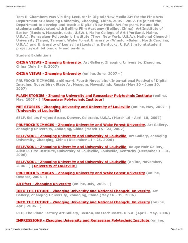 11/20/10 5:46 PMStudent Exhibitions Page 1 of 3http://www.tomrchambers.com/zqu.html Tom R. Chambers was Visiting Lecturer ...