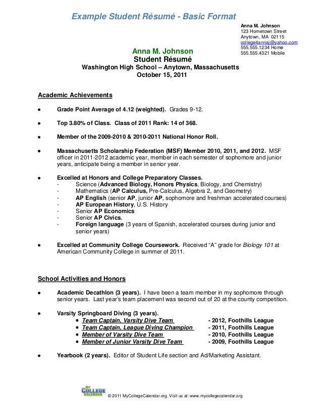 Example Student Résumé   Basic FormatAnna M. Johnson123 Hometown  StreetAnytown, MA 02115college4annaj@yahoo ...  Freshman College Student Resume