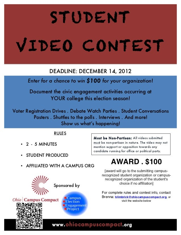 STUDENT        VIDEO CONTEST                        DEADLINE: DECEMBER 14, 2012              Enter for a chance to win $10...