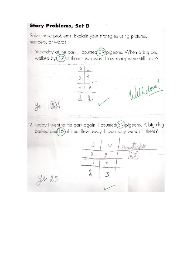 Student 3 Subtraction Year2