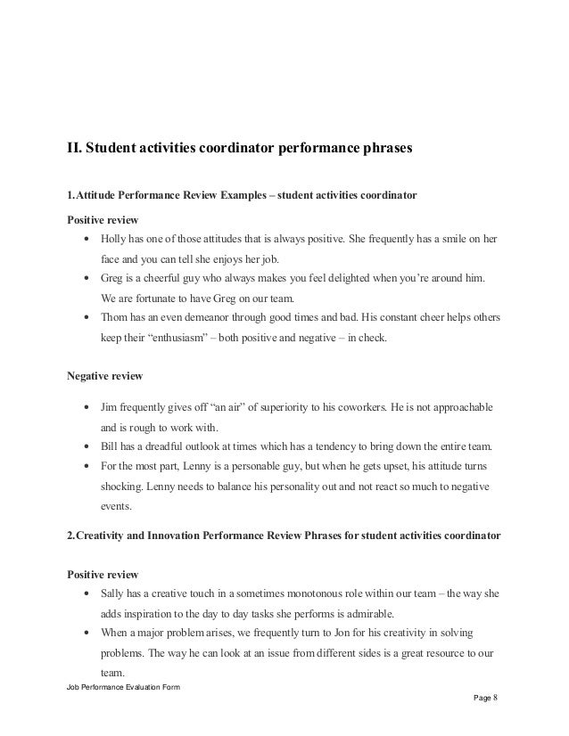 Student Activities Coordinator Performance Appraisal