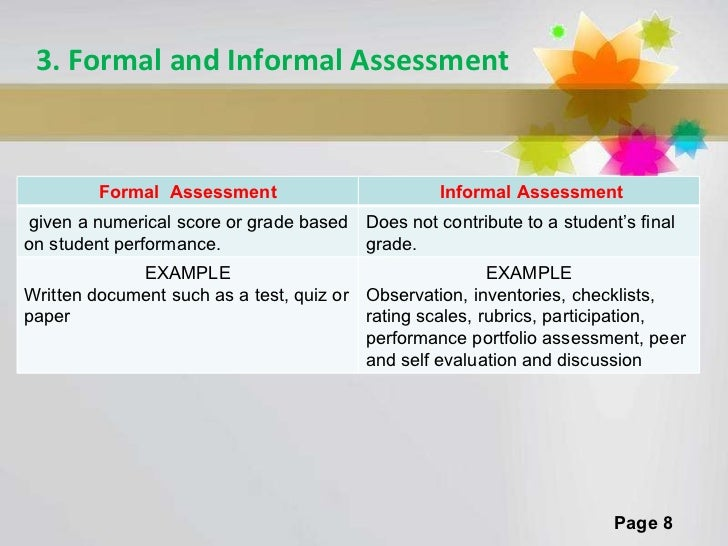 Formal Assessment  Formal Vs Focus Questions What Is Assessment
