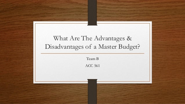 advantages and disadvantages master budget The advantages of budgeting in a business include the ability to follow management strategy for improving market share, earning a profit or increasing current profits budgeting avoids several pitfalls that put small companies out of business if you plan to expand operations and apply for financing.