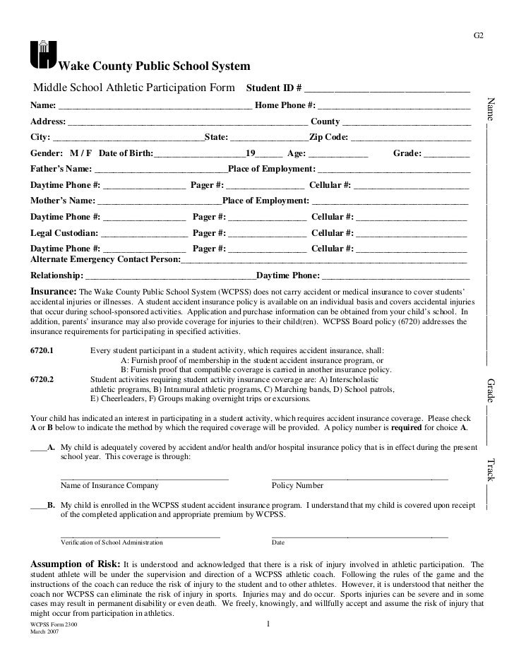 G2         Wake County Public School System Middle School Athletic Participation Form                           Student ID...