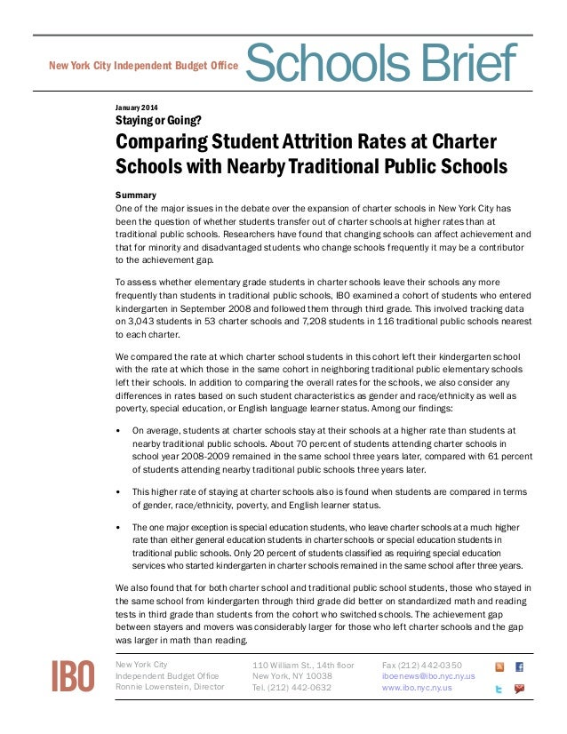 Schools Brief  New York City Independent Budget Office Fiscal Brief  January 2014  Staying or Going?  Comparing Student At...
