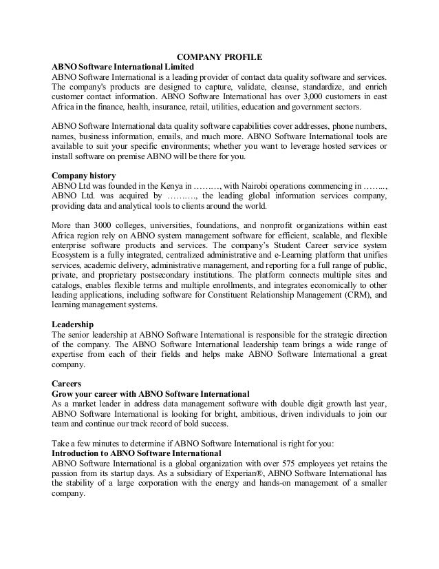 COMPANY PROFILE ABNO Software International Limited ABNO Software International is a leading provider of contact data qual...