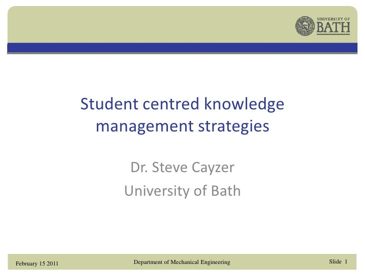 Student-centred KM strategies