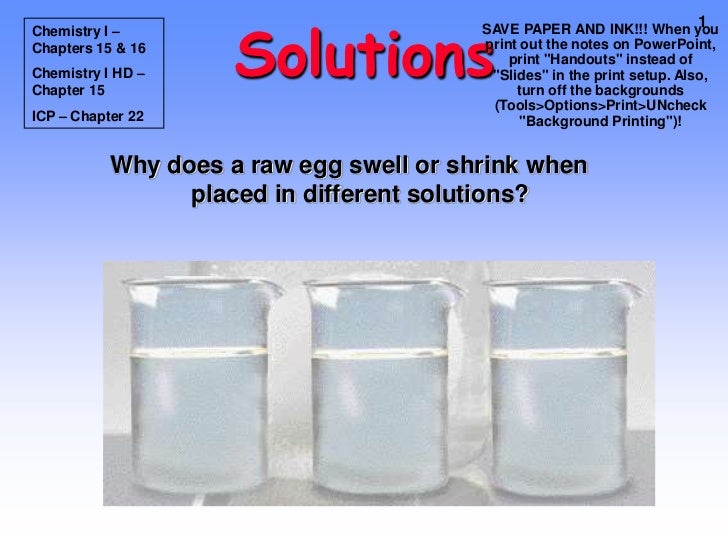 Solutions                                                                          1Chemistry I –                         ...