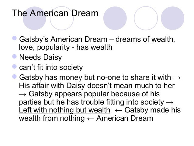 the american dream as expressed in the great gatsby by f scott fitzgerald Get an answer for 'how does f scott fitzgerald portray the american dream in the great gatsby through his use of symbolism and other literary devices ' and find homework help for other the great gatsby questions at enotes many different mediums to express his views on the american dream.