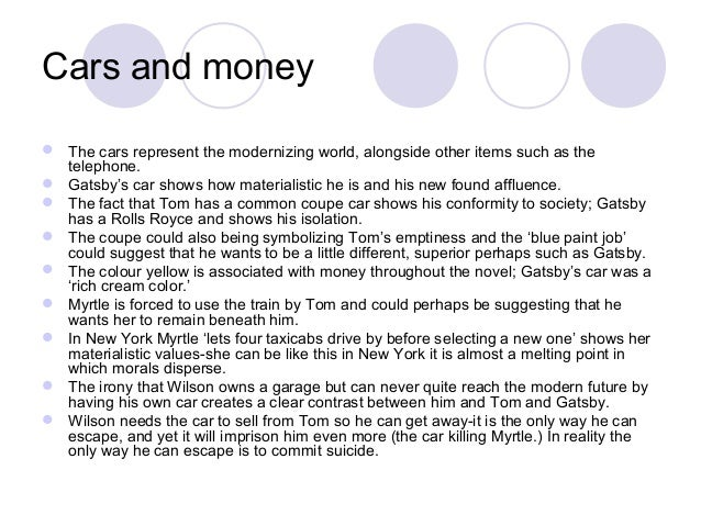 materialism great gatsby research paper