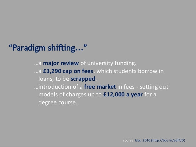 """""""Paradigm shifting…""""      …a major review of university funding.      …a £3,290 cap on fees, which students borrow in     ..."""