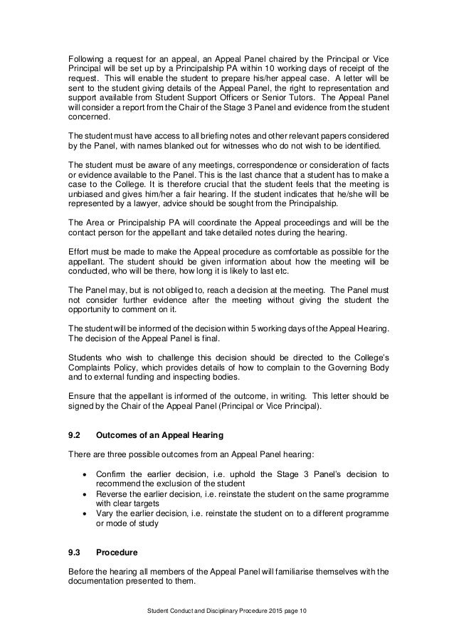 student conduct and disciplinary procedure jpg 638x903 disciplinary appeal hearing invite