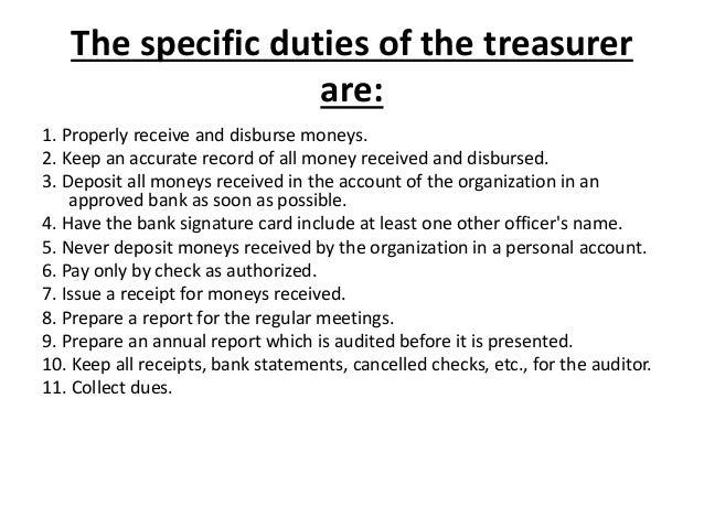 12. The Specific Duties Of The Treasurer ...