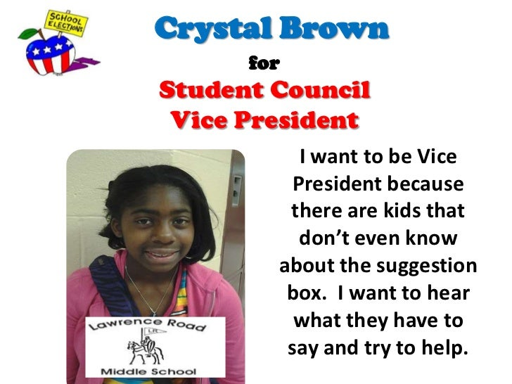 elementary vice president speech With election season in full swing, students from washington elementary made speeches in running for class president, vice president, secretary and.