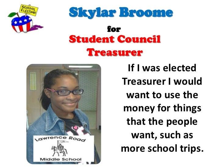student council treasurer speech