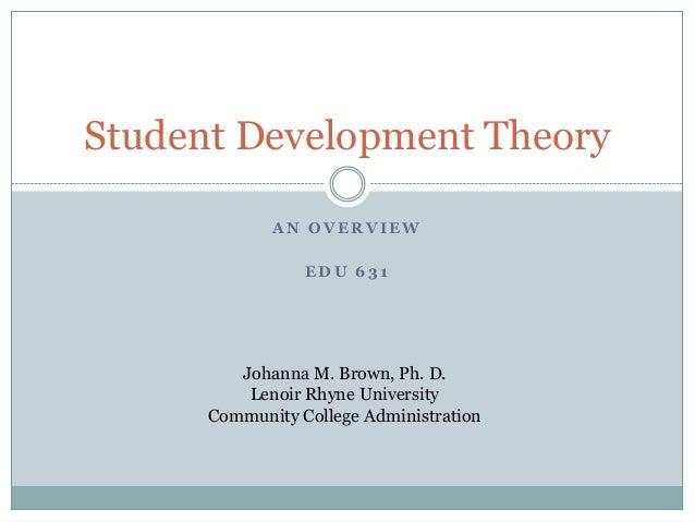 A N O V E R V I E WE D U 6 3 1Student Development TheoryJohanna M. Brown, Ph. D.Lenoir Rhyne UniversityCommunity College A...