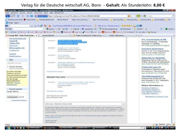 Verlag für die Deutsche wirtschaft AG, Bonn - Gehalt: Als Stundenlohn: 8,00 €