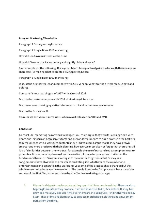 Classification Essay Thesis Statement Essay On Marketingcirculation Paragraph  Disneyasconglomerate Paragraph   Jungle Book Marketing How Didjonfavreauint How To Write A High School Application Essay also Narrative Essay Sample Papers Student Essay On Jungle Book Good Thesis Statement Examples For Essays