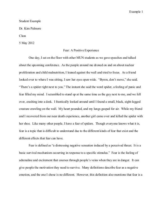 Definition essay on fear