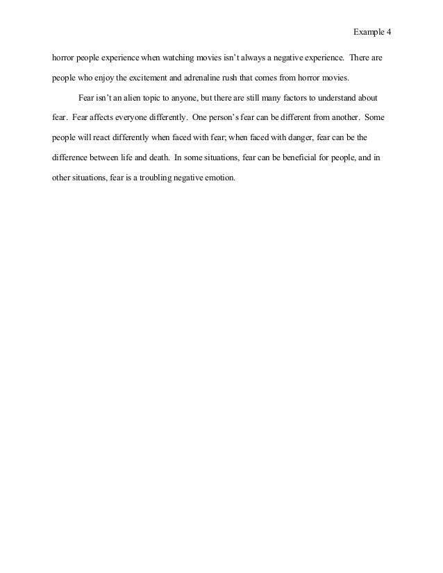 student example essay  however the 4 example 4 horror people experience when watching movies