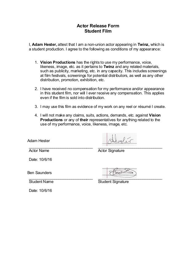 Actor Release Form Student Film I, Adam Hester, Attest That I Am A Non ...