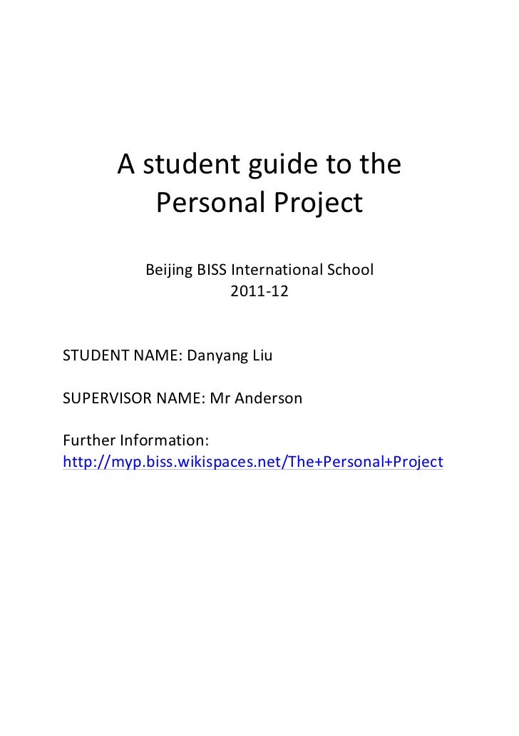 A student guide to the               Personal Project                      ...