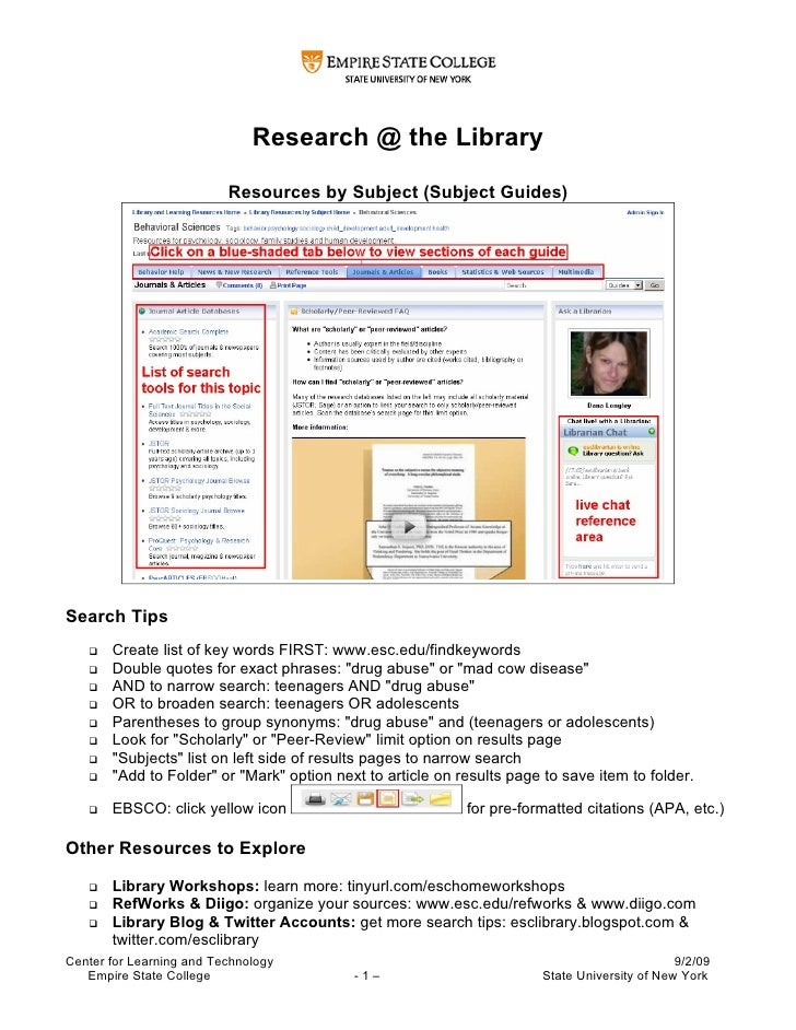 Research @ the Library                            Resources by Subject (Subject Guides)     Search Tips       Create list...